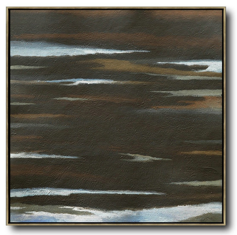 Large Abstract Painting Canvas Art,Oversized Abstract Landscape Painting,Modern Canvas Art,Brown,White,Black.etc